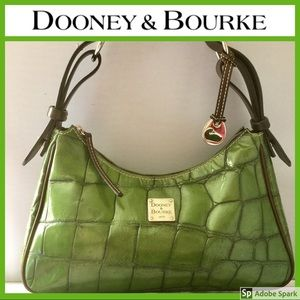 EUC! Gorgeous! Green Brown Leather Satchel Handbag